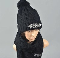 Wholesale Winter Scarves Rhinestones - WOMEN WINTER ACRYLIC CABLE KNIT 3 PIECES SET SCARF POM HAT AND MITTEN WITH RHINESTONE(T0010)