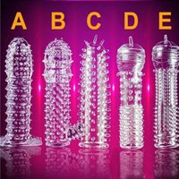 Wholesale Adult Sexual Toy - Condoms Crystal Condoms soft Silicone Penis Extensions Adult Sex Products vaginal Sexual Aid Condom Adult product sex toys