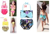 Wholesale Baby Girls Bathers - 2017 Newest 3 Style Baby Girls Swimwear Summer Kids Swimsuit bow printing Children Bathing Suit Kids Girls Bathers XT