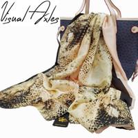 Wholesale Real Animal Skins - Gold Snake Silk Scarf 2017 Luxury Brand Sexy Women Animal Print Snake Skin Pattern Real Silk Scarves Shawls