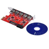 Wholesale E Sata Connector - Wholesale- USB 3.0 PCI-e Express Card With 5 Ports SATA 15Pin Power Connector For Desktops with Driver CD