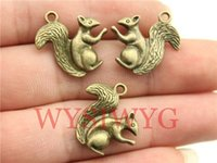 Wholesale Bronze Squirrel - Wholesale- WYSIWYG 4pcs 21*21mm antique bronze plated Squirrel charms