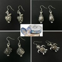 Wholesale Earring Freshwater Pearl - Newest Love Wish Pearl Cages Locket Earrings Freshwater Pearls Oyster Pendant Earrings (Excluding Pearl Canned)Hollow Apple Dangle Earrings