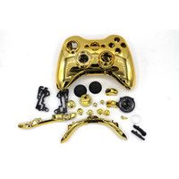 Wholesale Gold Shell Xbox - New Arrival Hot Gold Chrome Replacement Shell Case Cover Mod Button For Xbox 360 Wireless Controller Wireless