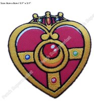 Wholesale Sailor Moon Uniform - Sailor Moon Heart Love Girl Cartoon patches clothes TV MOVIE FILM Series Uniform Cosplay Costume Embroidered Iron On Badge 8cm