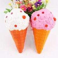 Wholesale Ice Cream Gifts Kids - 10PCS 19CM Kawaii Jumbo Squishy Slow Rising Sprinkles Cream Scented Ice Cream Pendant phone Straps Charm Kid Toys Gift Bread Fun