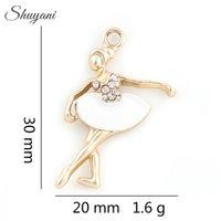 Wholesale Ballerina Jewelry Silver - 30*20mm Crystal Dancer Ballerina Charms Pendants for Locket Necklace Bracelet Charm Jewelry Making DIY Handmade Craft
