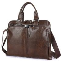 Wholesale Brown Men Business Bag - Business Briefcase Leather Men Bag Computer Laptop Handbag Man Shoulder Bag Messenger Bags Men's Travel Bags Black Brown