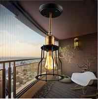 amerikan vintage oturma odası toptan satış-Amerikan Retro LED Tavan Işık Fikstür Yaratıcı Edison Tavan Lambaları Vintage Basit Demir Ev Lamba Oturma Odası Için Plafon Armatür