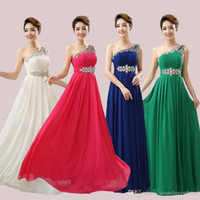 Wholesale Club Dress Back Cross - New One-shoulder Sequins and Crystals A-line Long Prom Bridesmaid Dresses 2017 Fashion Prom Evening Party Dresses