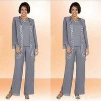 Wholesale Cheap Navy Blue Pants - 2018 New Cheap Long Mother of Bride Suits Gray Color Sequins Jewel Neck Long Sleeves Jacket Formal Pants Suits Custom Made