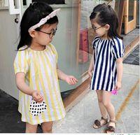 Wholesale Girls Patching Dress - 2017 Summer New Girl Dress Stripe apple patch Short sleeve dress Children Clothing XY-8725
