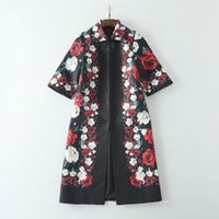 Wholesale Rose Trench Coat - European and American women's wear 2017 The new winter 7 minutes of sleeve lapel Rose printed Jacquard fashionable trench coat