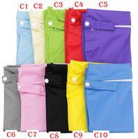 bolsas de almacenamiento de pañales al por mayor-Bolsas de pañales para bebés Bolsas apilables para pañales Organizador de pañales a prueba de agua Cremallera Infantil Cochecito de carrito Bolsas de mojado Bolsa de almacenamiento de tela seca YYA418