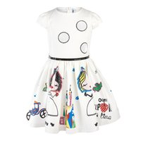 Wholesale Little Girl Clothes For Sale - Hot Sale Summer White Girls Dresses With Cute Colorful Printing Crew Neck Cap Sleeves Cheap Dresses For Little Girls Kids Clothing MC0631