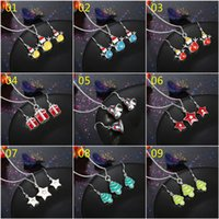 Wholesale Multiple Sets Earrings - Fashion Cute Style Christmas Xmas Holidays Colored Enamels Jewelry Sets for women girl multiple styles mixed order SET146