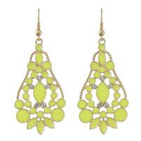 Wholesale Enamel Flower Drop Earrings - New Hot Selling Fashion Jewelry New Coming Costums Enamel Flower Gold Color Alloy Drop Wedding Earrings for Women