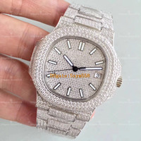 reloj de acero inoxidable aaa al por mayor-La mejor calidad Reloj de diamante Nautilus Movimiento automático Reloj de lujo impermeable Hombre 40 mm 316 Movimiento de barrido inoxidable Juego de diamante helado hacia fuera