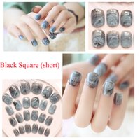 Wholesale Nail Marble - Wholesale- Newest marble Design Fake Nails French Artificial Nails Top Quality Etagere Faux Ongles for Nail Display 24pcs Set Free Glue