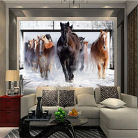 Wholesale Rolling Horse - Wholesale-Modern photo wallpaper 3d stereo horses galloping bedroom living room sofa TV background wall mural wallpaper flash silver cloth