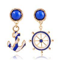 Wholesale Blue Epoxy Resin - Navy Style Fashion Anchor Earrings Epoxy Enamel Rudder Stud Earrings for Women 18K Gold Plated Jewelry Gifts Wholesale Hot