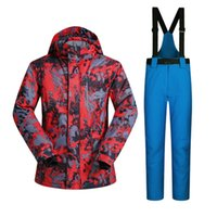 Wholesale Silver Winter Coats For Men - Wholesale- winter ski suit men waterproof windproof thicken breathable ski jacket and trousers sets for male print snowboard coats jackets