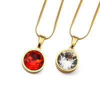 Wholesale Necklace Small Crystal Pendant - Fashion Round Crystal Gem White And Red Rhinestone Charms Small Pendant Necklace Hip Hop For Men Women With Gift Box
