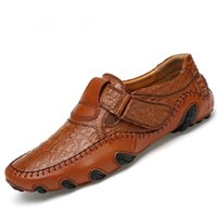 Wholesale Large Fishing Hooks - 2017 men's crocodile skin large - size soybean shoes men south Korean edition octopus fish casual leather shoes Zapatos Hombre