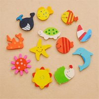 Wholesale Novelty Wooden Animal Magnets - 12pcs Mini Cute Magnet Wooden Cartoon Animals Novelty Cute Fun Kids Toy Imagine Intelligent Toys