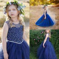Wholesale Children Dresses Sequins - 2017 Navy Blue Flower Girls Dresses For Weddings Sheer Jewel Neck Beads Sequins Tulle Hollow Back Long Birthday Children Girl Pageant Gowns