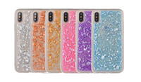 Wholesale Gold Diamond Iphone Shell - Luxury Bling Foil Glitter Soft TPU Silicone Case For Iphone X Diamond Gold Sparkle Leaves Cover Shell Clear Cell Phone Back Skin 2017