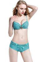 rote bikini-shorts großhandel-Bandage Bikini Set Push-Up gepolsterte Bademode Sicherheitsgurt Shorts Bequeme Badeanzug Navy Red Green Streifen Girl Biquini