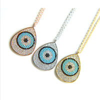 Wholesale sterling silver micro pave necklace - 2017 valentines gift circle evil eye design micro pave Sparking bling cz 925 silver women big pendant necklace for wedding party jewelry