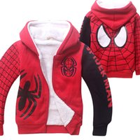 Girl spider man girl - Boys Girls Double Layers Cotton Coats Moana Spider Man Zipper Coral Velvet Kids Hoodies Children Winter Coats