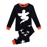 Wholesale Ghost Suit - New Halloween ghost Pajamas outfits cartoon baby long-sleeved+pants 2pcs set Tracksuit suit kids Clothing C1397