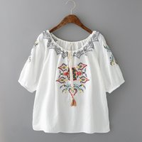 Wholesale Chinese Blouse Fashion - Cotton linen loose embroidery Slash Neck lacing short sleeve shirt Chinese style high quality women summer blouses