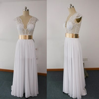 Wholesale Vintage Pearl Belt - 2016 Real Images Sheer Wedding Dresses V Neck Pearls With Gold Belt Chiffon Floor-Length Bridal Dresses dhyz 01