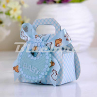 Wholesale ribbon bear - Wholesale-12Pcs Baby Shower Candy Box Baby Chocolate Box Card Paper Baby Bear Favor Box With Ribbon Bow And Tags