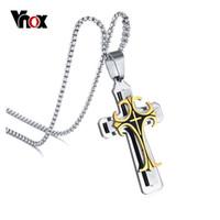 """Wholesale Large Pendant Cross Wholesale - Wholesale- Vnox Men's Stainless Steel Large Fleur-de-lis Cross 3-Tone Pendant Necklace, 24"""" Chain"""