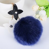 Wholesale leather keychain purse - Keychain Fluffy Imitate Fur Ball Car Key Chain Bag Pendant Pom-pom Key Chains Flower Drop Leather Strap Car Hanging Purse Charm
