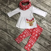 Wholesale Christmas Reindeer Top - Wholesale- Fall winter 3 pieces scarf Christmas top baby girls OUTFITS clothes reindeer aztec red cotton pant hot sell boutique kids