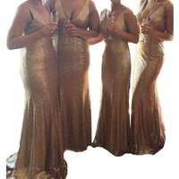 Wholesale Party Dresses Size 16 Womens - Womens Sequins Gold Bridesmaid Dresses 2017 Long Floor Length Bridesmaid Gowns Deep V Neck Mermaid Formal Party Gowns