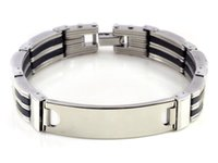 "Wholesale Mens Gold Id Bracelets - Wholesale- 2017 Hot Sale Time-limited Acrylic Charm Bracelets Plain Id Engravable Mens Stainless Steel Link Bracelet Bangle Cuff 8.3"""
