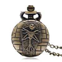 Wholesale Girls Skull Watches - Wholesale-Hot Sell Vintage The Nightmare Before Christmas Halloween Skull Design Small Pocket Watch with Necklace Chain Gift for Boy Girl