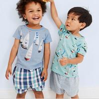 Wholesale Sail T Shirt - Summer Boy INS whale sail boat print suit new children cartoon cotton ins Short sleeve T-shirt +shorts 2 pcs Suit baby clothes 18M-6T