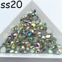 Vente en gros 1440pcs / lot, SS20 AB Crystal Shiny Loose FlatBack Non Hot Fix Strass Crystal Rhinestones Nail Art Colle Sur Cristaux Flatbacks