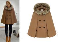 Wholesale Ladies Hooded Cloaks - women woolen hooded cape ladies winter loose overcoat faux fur neck cloak new arrival 3sizes 3color
