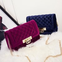 Wholesale Bridal Party Totes - 2017 luxury velvet plaid women clutches evening bags for wedding bridal with gold chain tote party handbags