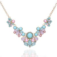 Wholesale V Shape Gold Necklace - 2017 Fresh Color Pink Blue Stone Diamond Necklaces Women V Shape Pendant Necklace 10PCS Length 40CM Girls Party Necklaces
