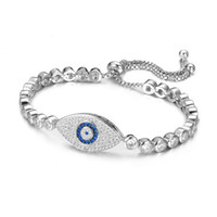 Wholesale Evil Eyes Charms - KIVN Fashion Jewelry Adjustable Bolo Turkish Evil eye Charm Tennis Pave CZ Cubic Zirconia Bridal Wedding Bracelets ,